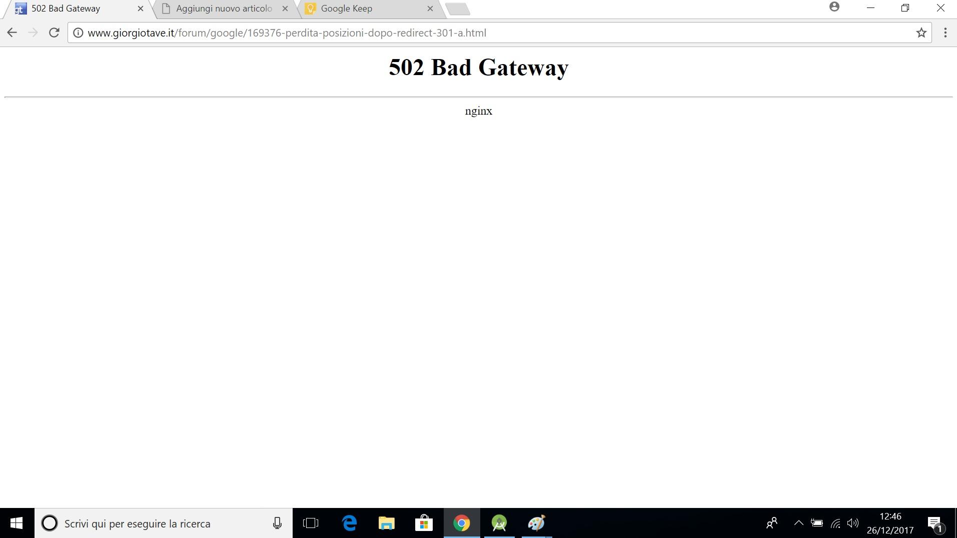 Giorgio Tave, errore apetura sito, 502 bad gateway