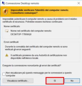 Accettazione certificato computer remoto