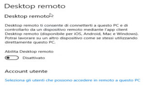 Abilitare desktop remoto Windows 10