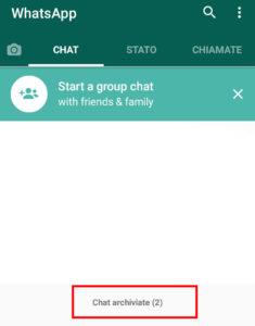 Dopo l'archiviazione della chat
