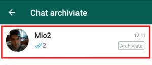 Conversazione nell'elenco delle chat archiviate