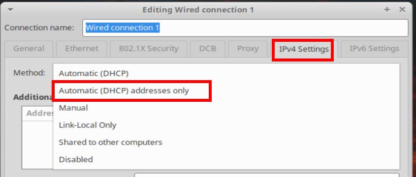 Impostazione dhcp solo indirizziamento su Xubuntu