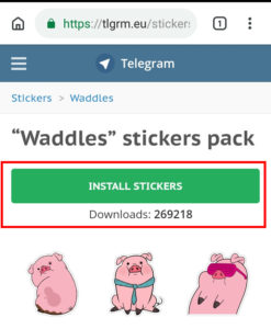 Premere install stickers per download e installazione