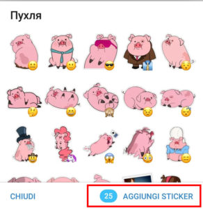 Da Telegram premi aggiungi sticker