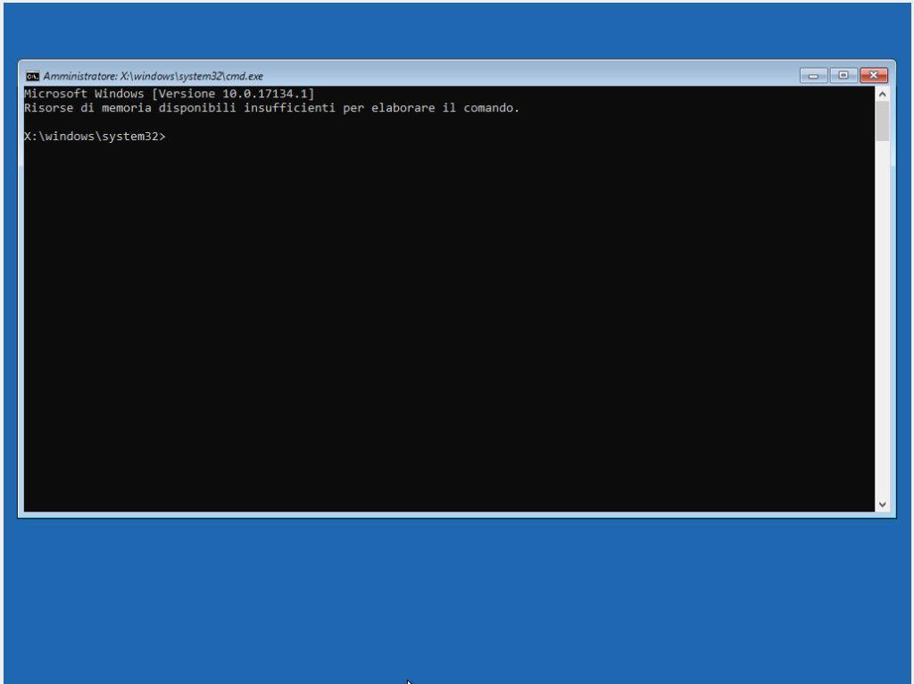 screenshot prompt dei comandi windows 10 ripristino