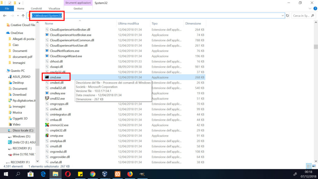 screenshot dove si trova cartella prompt dei comandi windows 10