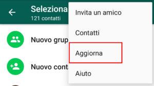 Aggiorna Contatti Whatsapp Android