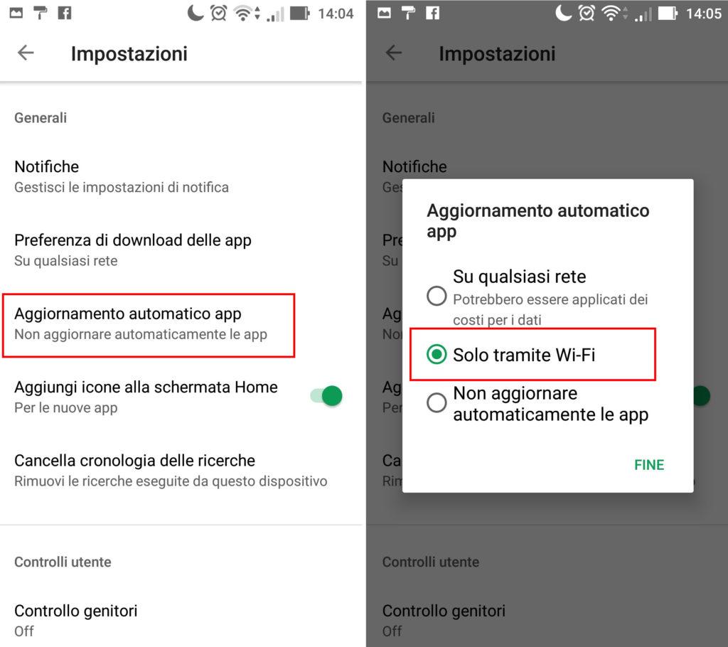 Impostazioni aggiornamento App su Android