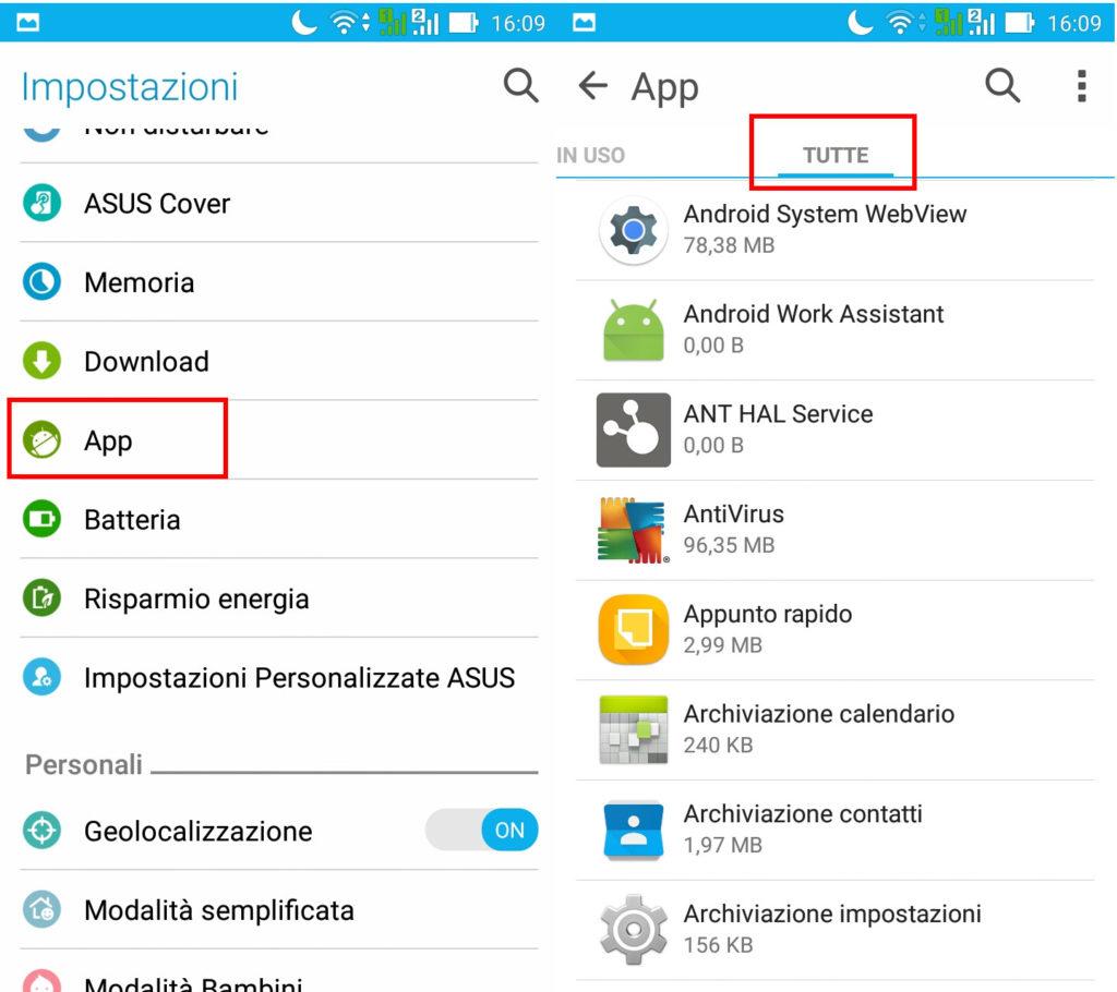 Tutte le applicazioni installate su Android