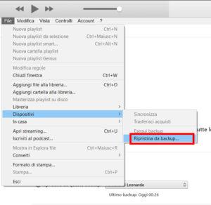 Apri ripristina da iTunes