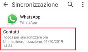 sincronizzare contatti whatsapp