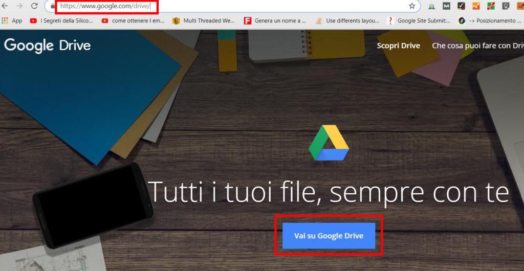 Apri Google Drive da Browser
