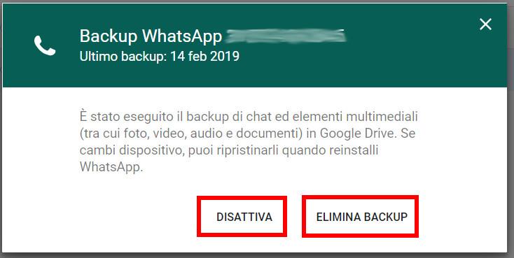 Leggere ulteriori dettagli backup whatsapp su google drive