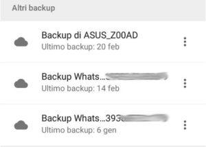 Elenco delle copie di Whatsapp su Google Drive