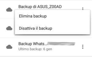 Opzioni relative al backup di Whatsapp su Google Drive