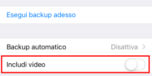 Includi video backup whatsapp iphone