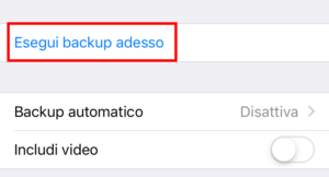 premi esegui backup adesso WhatsApp iPhone