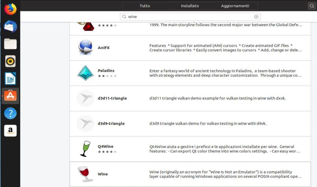 Ricerca Wine Ubuntu su Software center