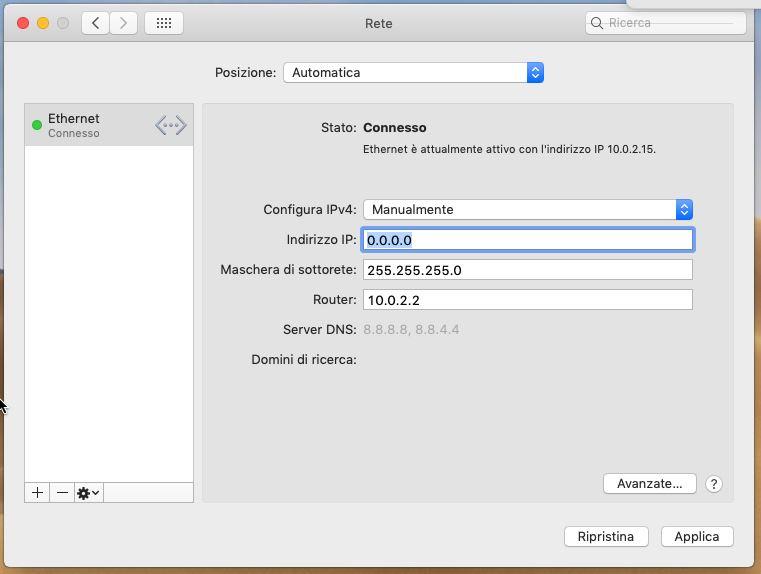 IP statico MacOS